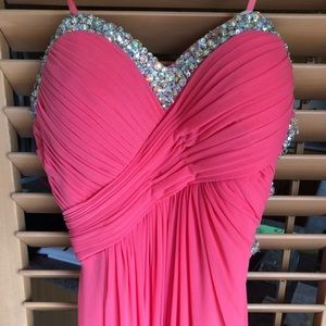 Strapless Coral Prom Dress
